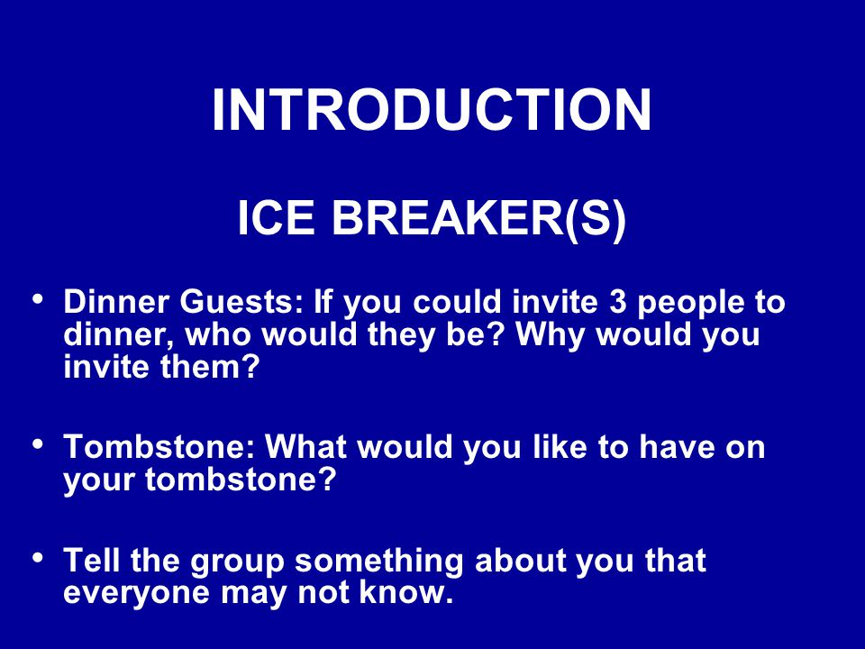 INTRODUCTION PARTICIPANTS Name Current Occupation Previous Training City, State See Ice Breaker(s)