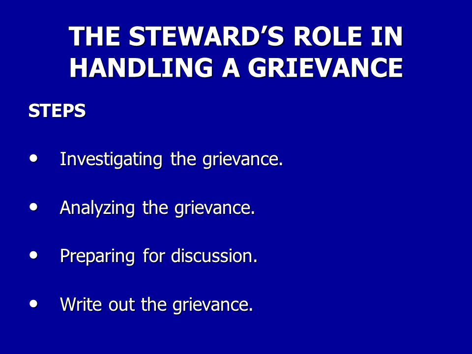 THE STEWARD'S RELATIONSHIP TO THE CONTRACT UNDERSTANDING THE CONTRACT For the new steward, the contract can be a bit intimidating at first. The new st
