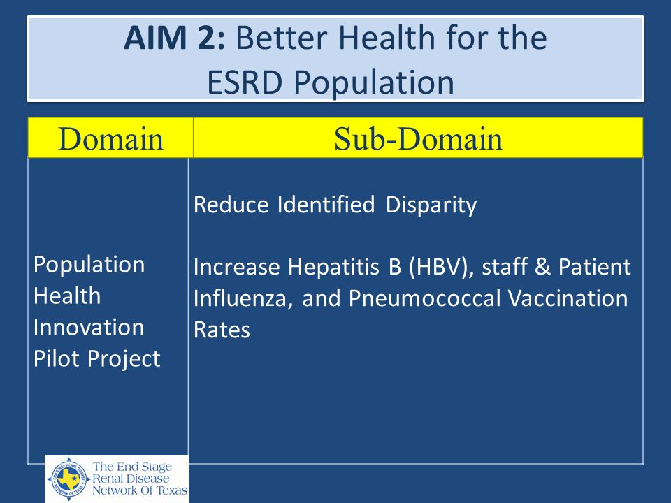 AIM 2: Better Health for the ESRD Population Population Health Innovation Pilot Project Reduce Identified Disparity Increase Hepatitis B (HBV), staff & Patient Influenza, and Pneumococcal Vaccination Rates DomainSub-Domain