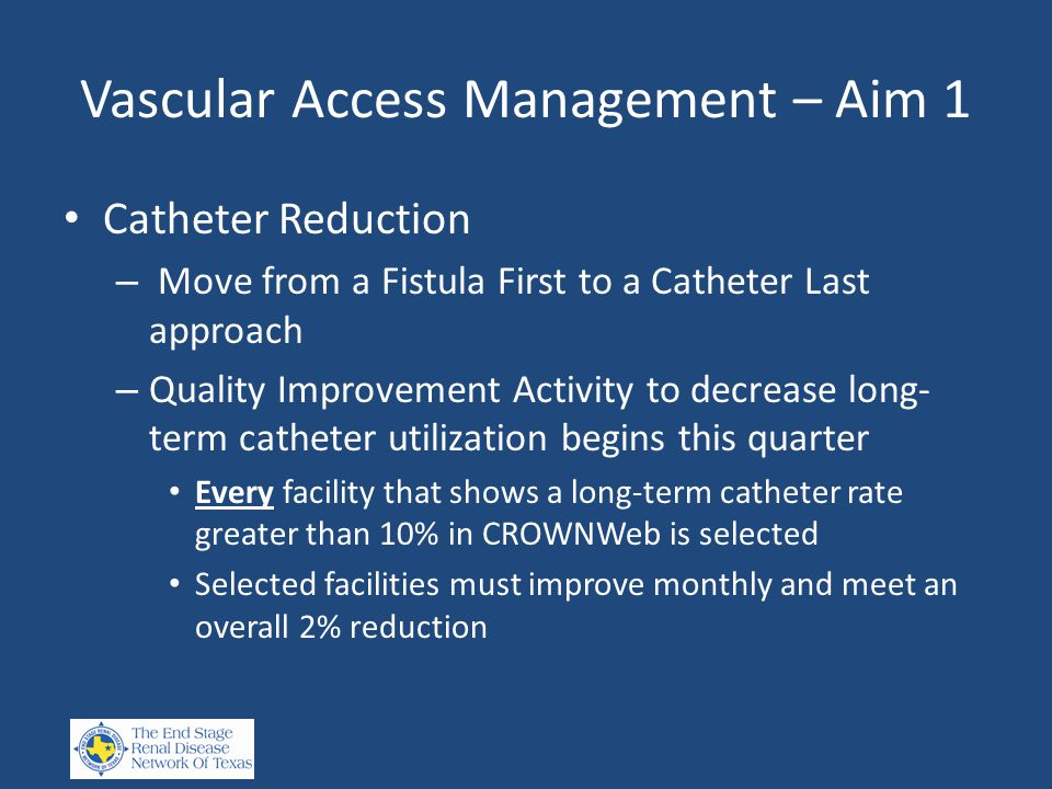 Vascular Access Management – Aim 1 Catheter Reduction – Move from a Fistula First to a Catheter Last approach – Quality Improvement Activity to decrease long- term catheter utilization begins this quarter Every facility that shows a long-term catheter rate greater than 10% in CROWNWeb is selected Selected facilities must improve monthly and meet an overall 2% reduction