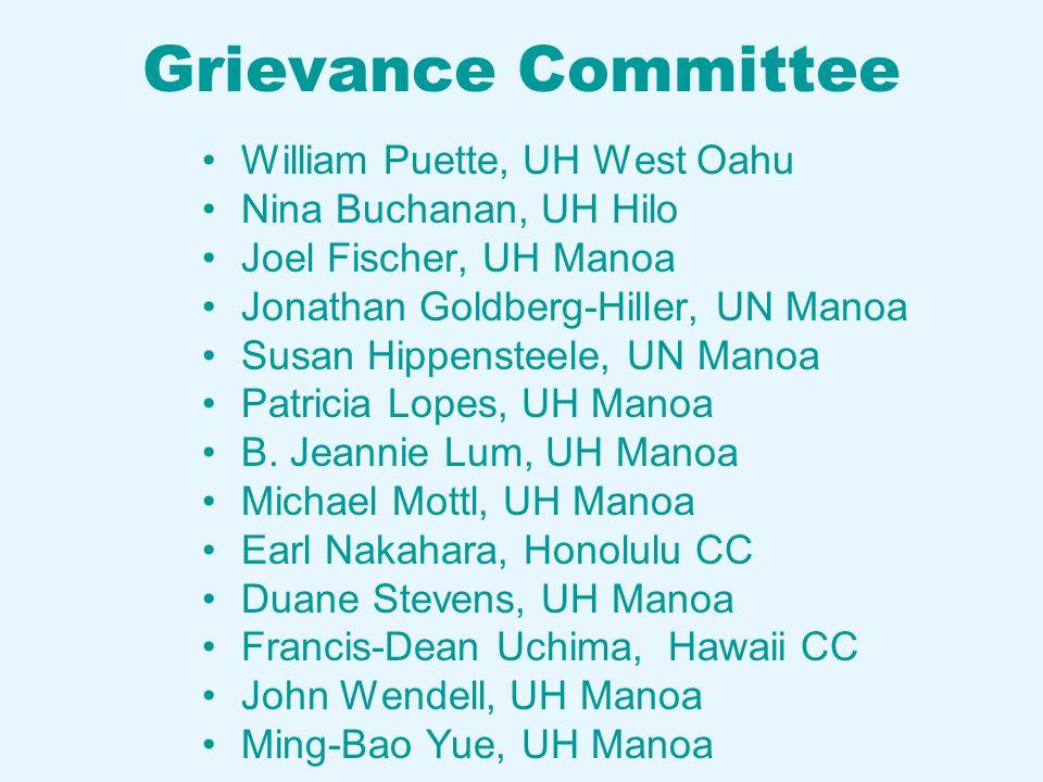 Grievance Committee William Puette, UH West Oahu Nina Buchanan, UH Hilo Joel Fischer, UH Manoa Jonathan Goldberg-Hiller, UN Manoa Susan Hippensteele, UN Manoa Patricia Lopes, UH Manoa B.
