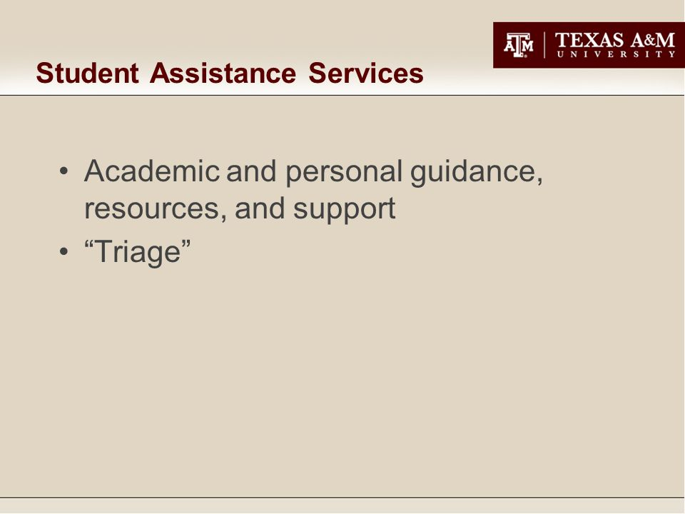 Student Assistance Services Academic and personal guidance, resources, and support Triage