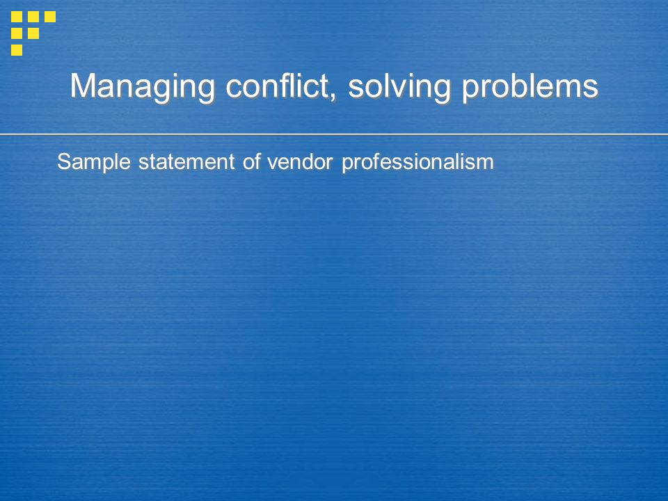 Sample statement of vendor professionalism