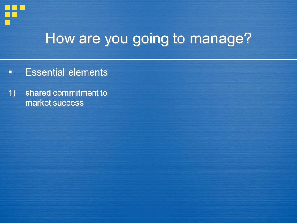 How are you going to manage?  Essential elements 1)shared commitment to market success  Essential elements 1)shared commitment to market success