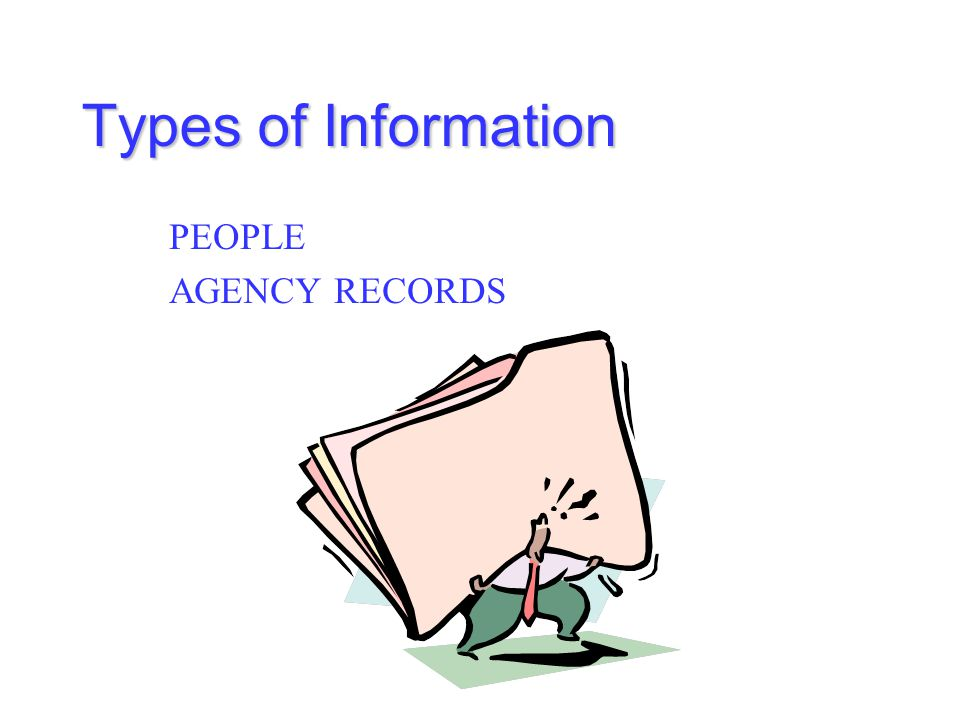 Types of Information PEOPLE AGENCY RECORDS