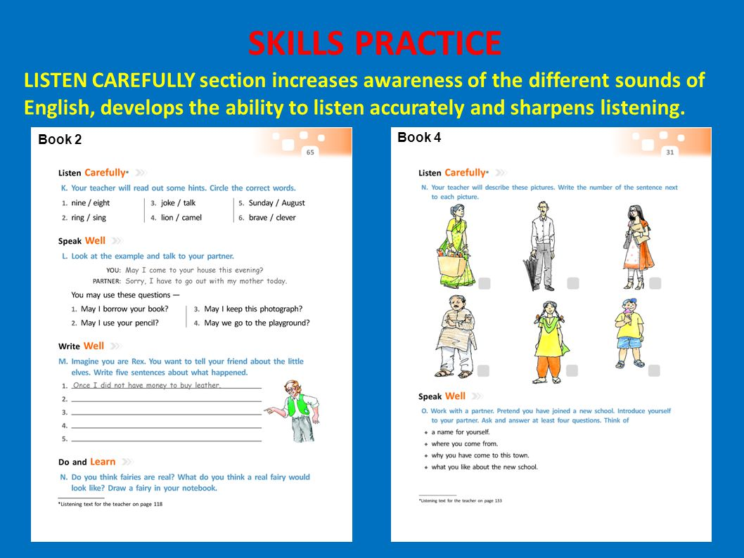 Book 2 Book 4 SKILLS PRACTICE LISTEN CAREFULLY section increases awareness of the different sounds of English, develops the ability to listen accurate