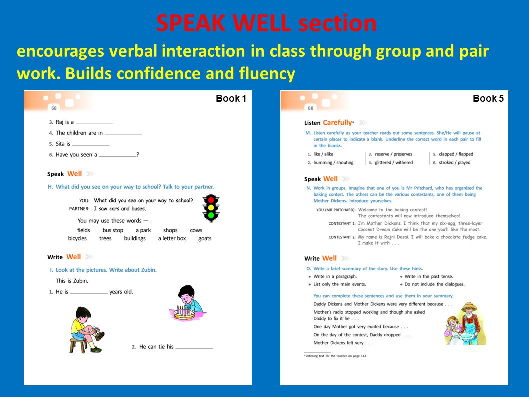 Book 1Book 5 SPEAK WELL section encourages verbal interaction in class through group and pair work. Builds confidence and fluency