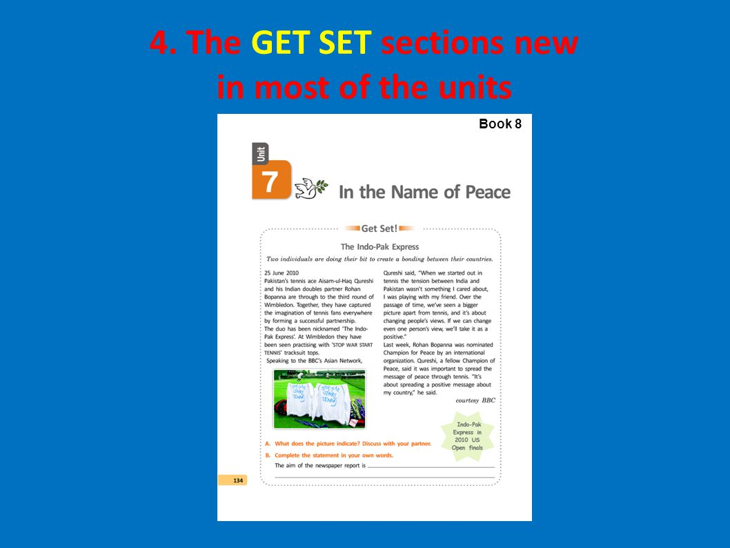 Book 8 4. The GET SET sections new in most of the units