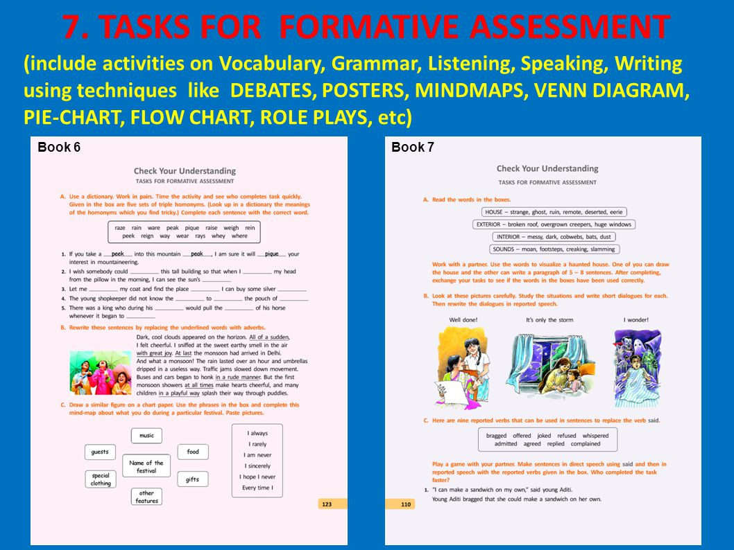 Book 6Book 7 7. TASKS FOR FORMATIVE ASSESSMENT (include activities on Vocabulary, Grammar, Listening, Speaking, Writing using techniques like DEBATES,