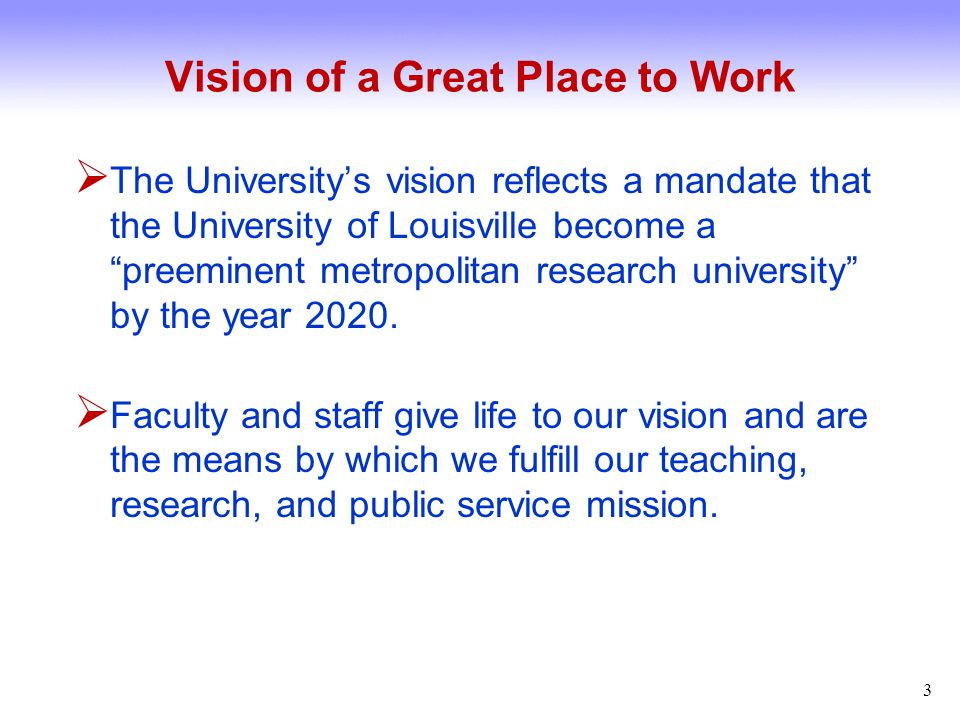 Vision of a Great Place to Work  Faculty contribute to student success in the classroom, generate knowledge through research and creative endeavor, and translate knowledge into practical solutions that improve the lives of the citizens of our city and state.