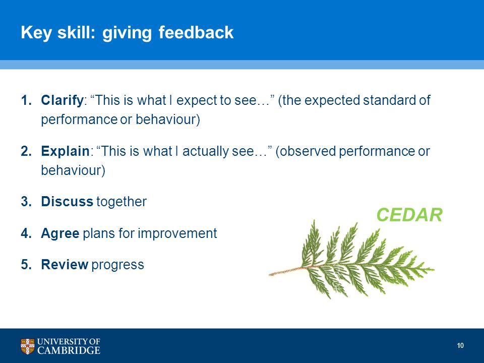 10 Key skill: giving feedback 1.Clarify: This is what I expect to see… (the expected standard of performance or behaviour) 2.Explain: This is what I actually see… (observed performance or behaviour) 3.Discuss together 4.Agree plans for improvement 5.Review progress CEDAR