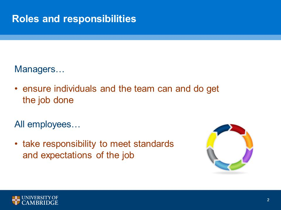 2 Roles and responsibilities Managers… ensure individuals and the team can and do get the job done All employees… take responsibility to meet standards and expectations of the job
