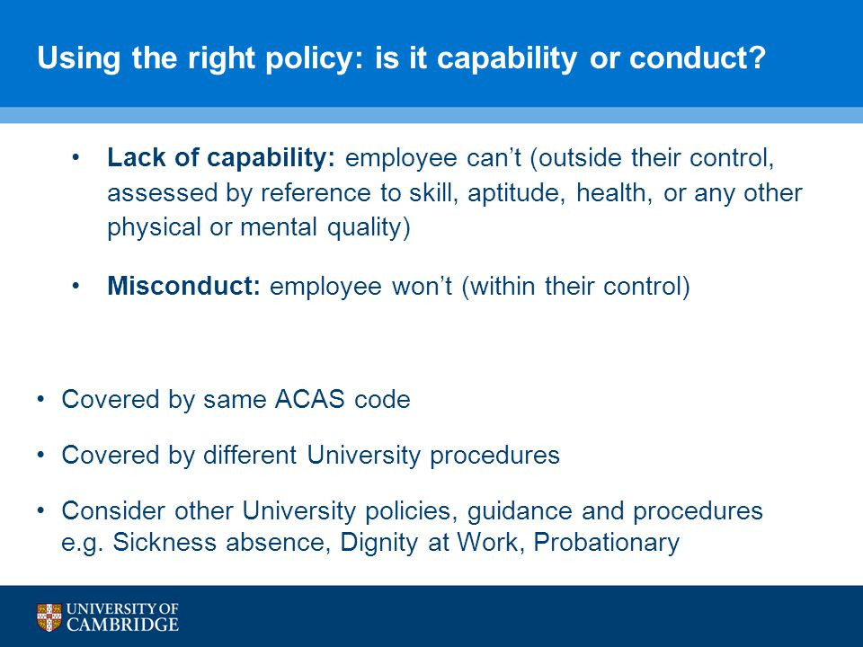 Using the right policy: is it capability or conduct.