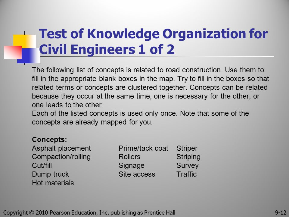 Test of Knowledge Organization for Civil Engineers 1 of 2 The following list of concepts is related to road construction. Use them to fill in the appr