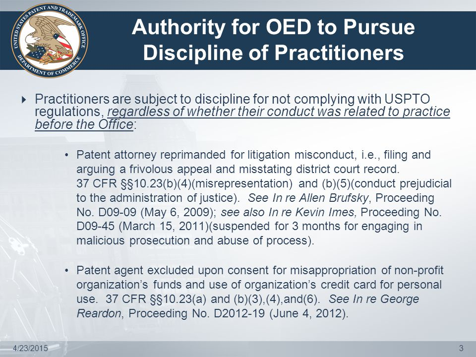 4/23/20154 Sources of Grievances Against Practitioners  An investigation may be initiated pursuant to information from any source suggesting possible grounds for discipline.