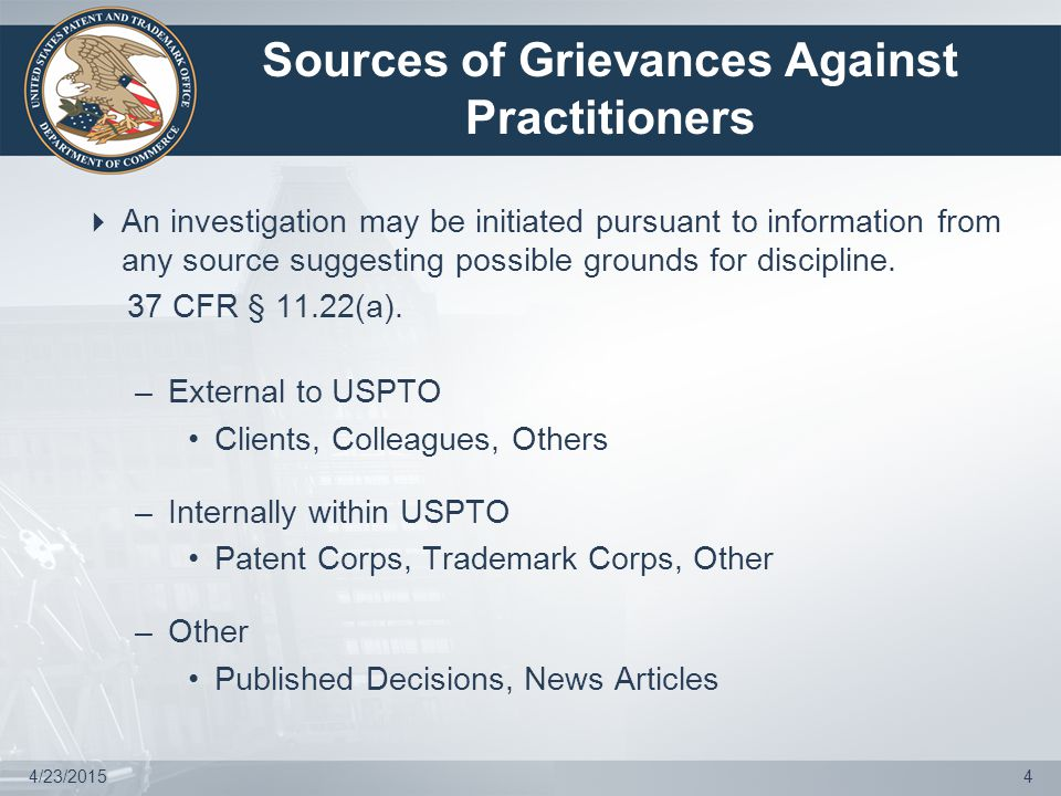 4/23/20155 Types of Disciplinary Complaints  Predicated on probable cause determination by Committee on Discipline (COD) after Committee convenes.