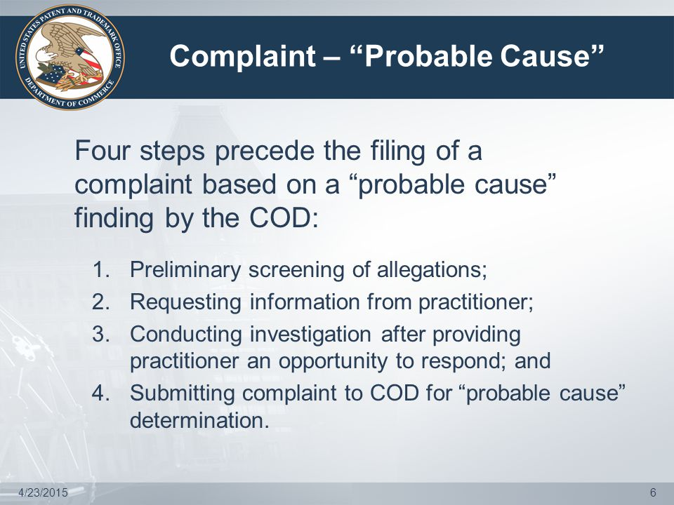 Potential Post-Investigation Outcomes  Upon completion of the investigation, OED may: Close the investigation without further action; Issue a warning; Enter into a proposed settlement agreement; or Convene the COD to determine whether there is probable cause to file a disciplinary action against practitioner.