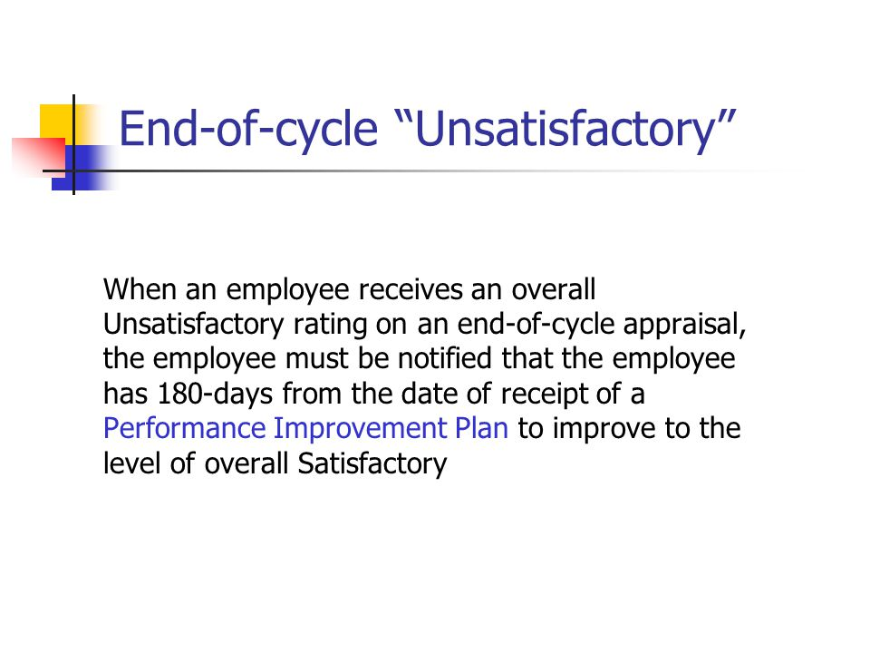 """End-of-cycle """"Unsatisfactory"""" When an employee receives an overall Unsatisfactory rating on an end-of-cycle appraisal, the employee must be notified t"""