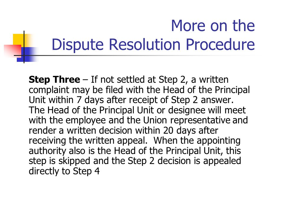 More on the Dispute Resolution Procedure Step Three – If not settled at Step 2, a written complaint may be filed with the Head of the Principal Unit w