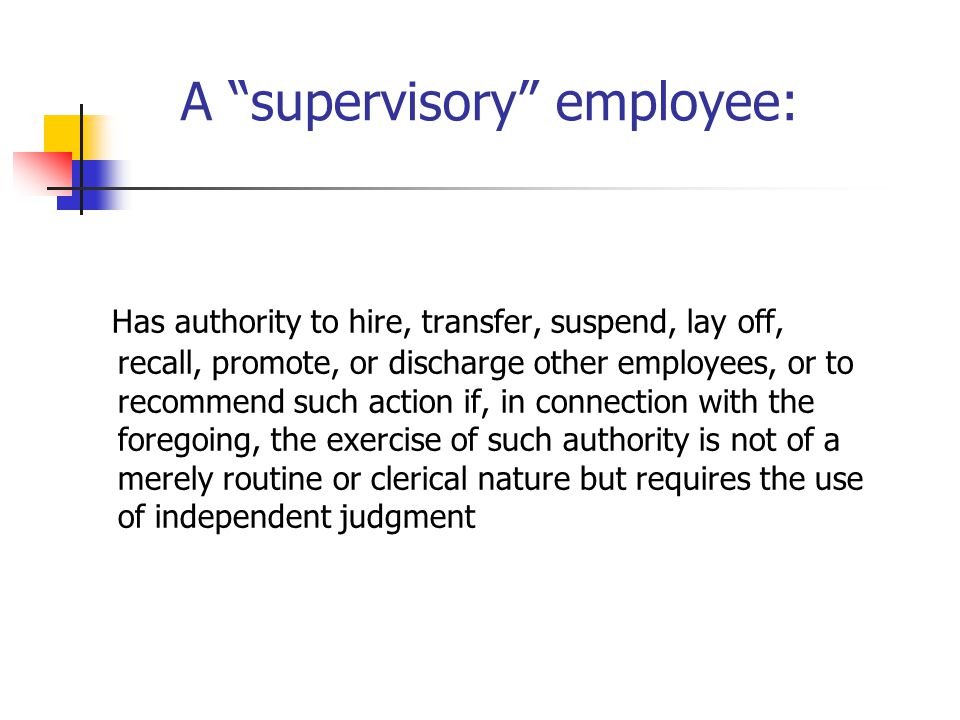 """A """"supervisory"""" employee: Has authority to hire, transfer, suspend, lay off, recall, promote, or discharge other employees, or to recommend such actio"""