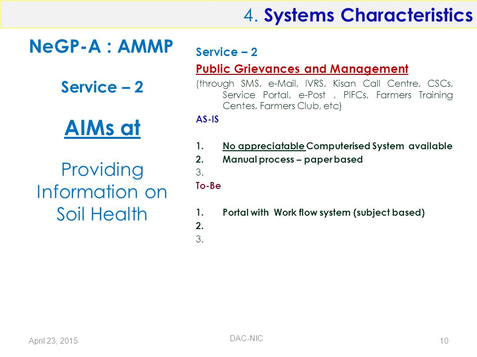 NeGP-A : AMMP Service – 2 Public Grievances and Management (through SMS, e-Mail, IVRS, Kisan Call Centre, CSCs, Service Portal, e-Post, PIFCs, Farmers