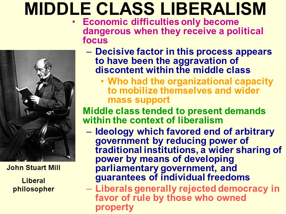 MIDDLE CLASS LIBERALISM Economic difficulties only become dangerous when they receive a political focus –Decisive factor in this process appears to ha