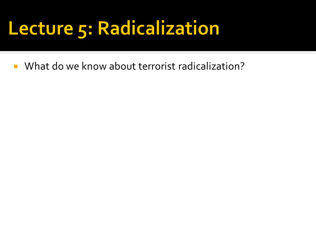  What do we know about terrorist radicalization?