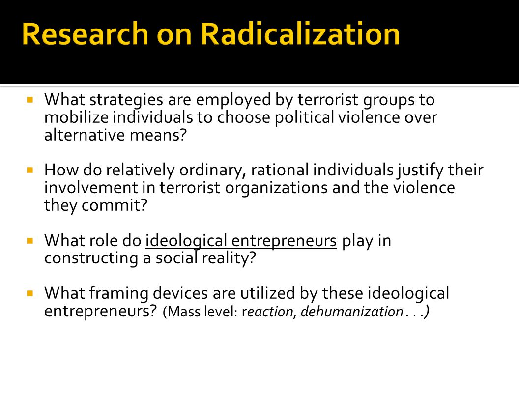 Remember ideological themes: Guevara – Vanguard Fanon – Violence as necessary Marighella – Urban warfare According to Eidelson & Eidelson, What are 5 beliefs that propel groups toward conflict?