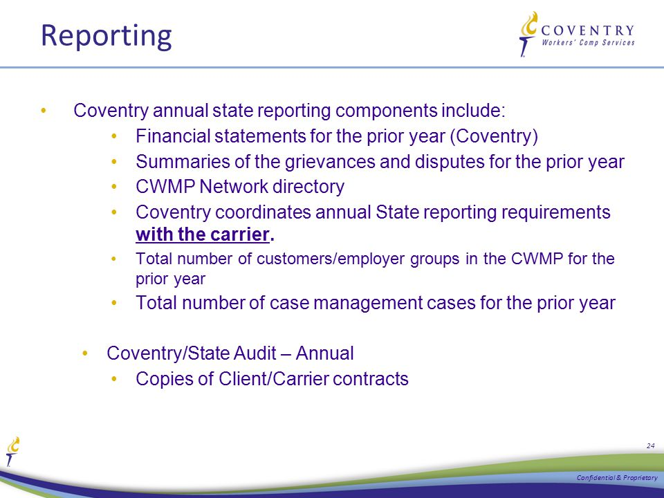 Reporting Coventry annual state reporting components include: Financial statements for the prior year (Coventry) Summaries of the grievances and dispu