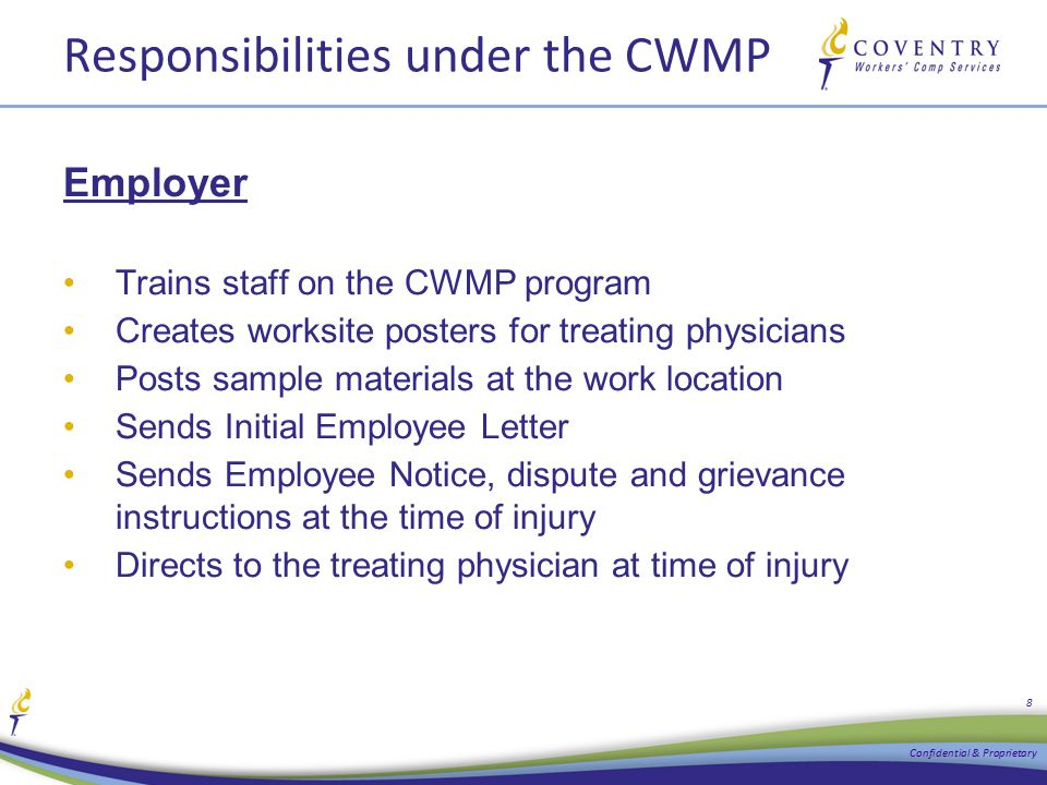 Responsibilities under the CWMP Employer Trains staff on the CWMP program Creates worksite posters for treating physicians Posts sample materials at t