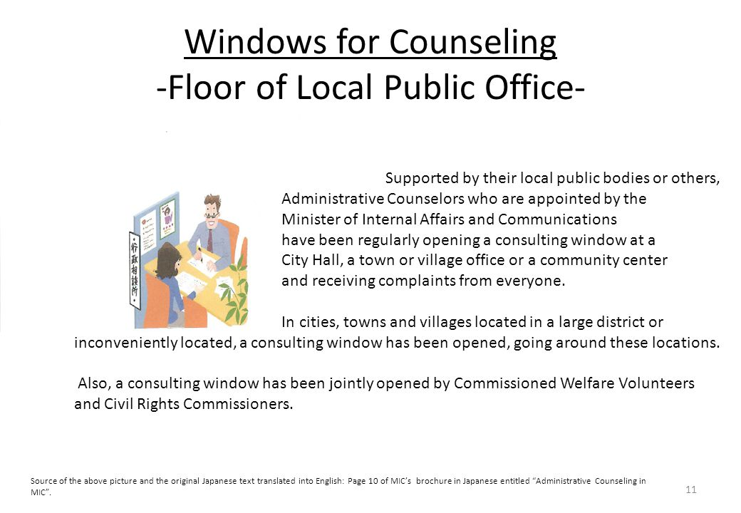 Windows for Counseling -Floor of Local Public Office- 11 Supported by their local public bodies or others, Administrative Counselors who are appointed by the Minister of Internal Affairs and Communications have been regularly opening a consulting window at a City Hall, a town or village office or a community center and receiving complaints from everyone.
