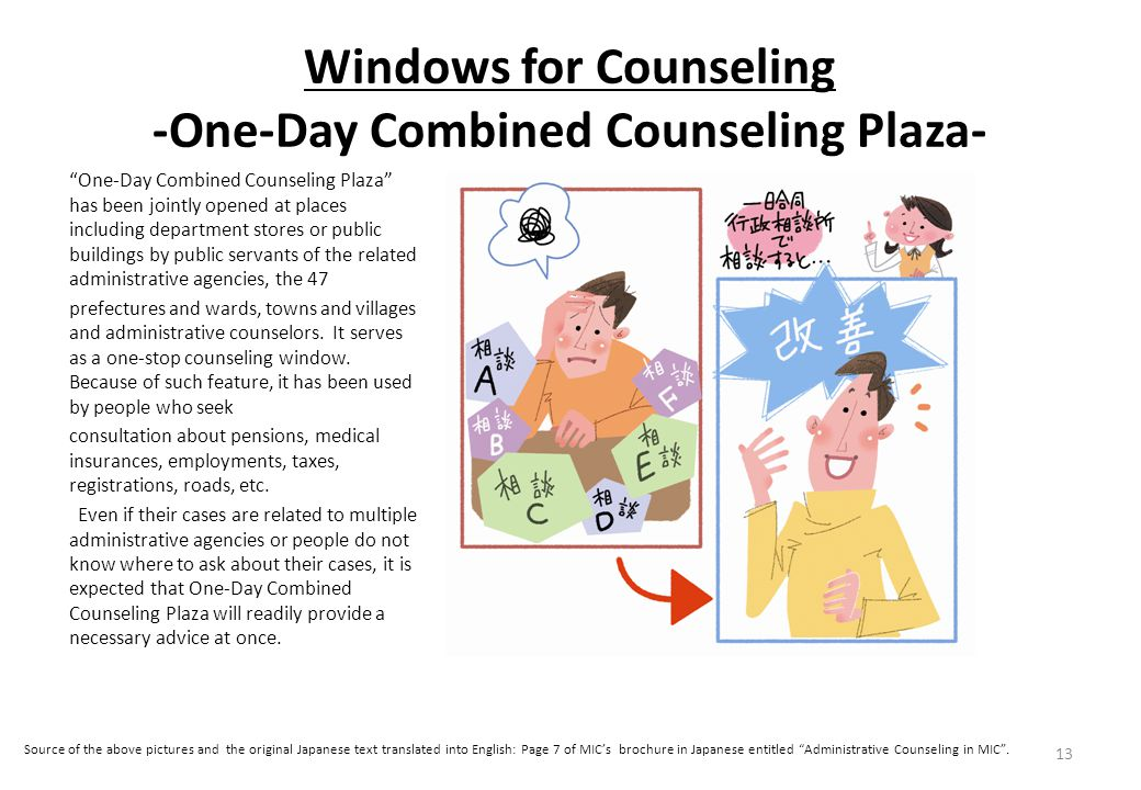 Windows for Counseling -One-Day Combined Counseling Plaza- One-Day Combined Counseling Plaza has been jointly opened at places including department stores or public buildings by public servants of the related administrative agencies, the 47 prefectures and wards, towns and villages and administrative counselors.
