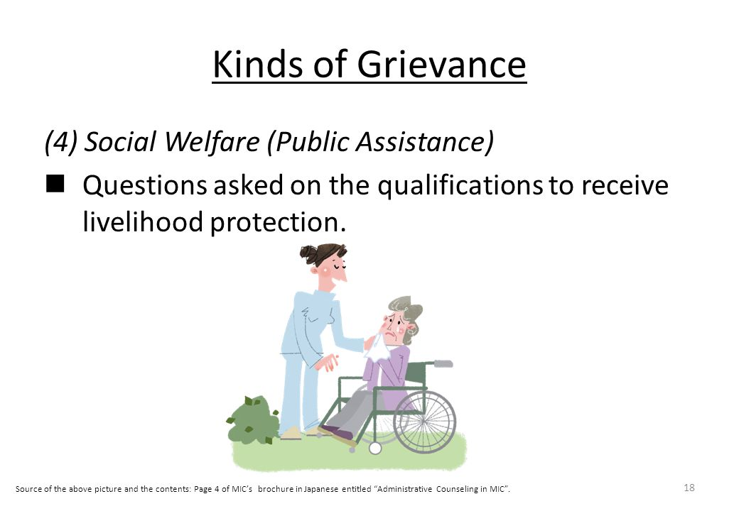 Kinds of Grievance (4) Social Welfare (Public Assistance) Questions asked on the qualifications to receive livelihood protection.