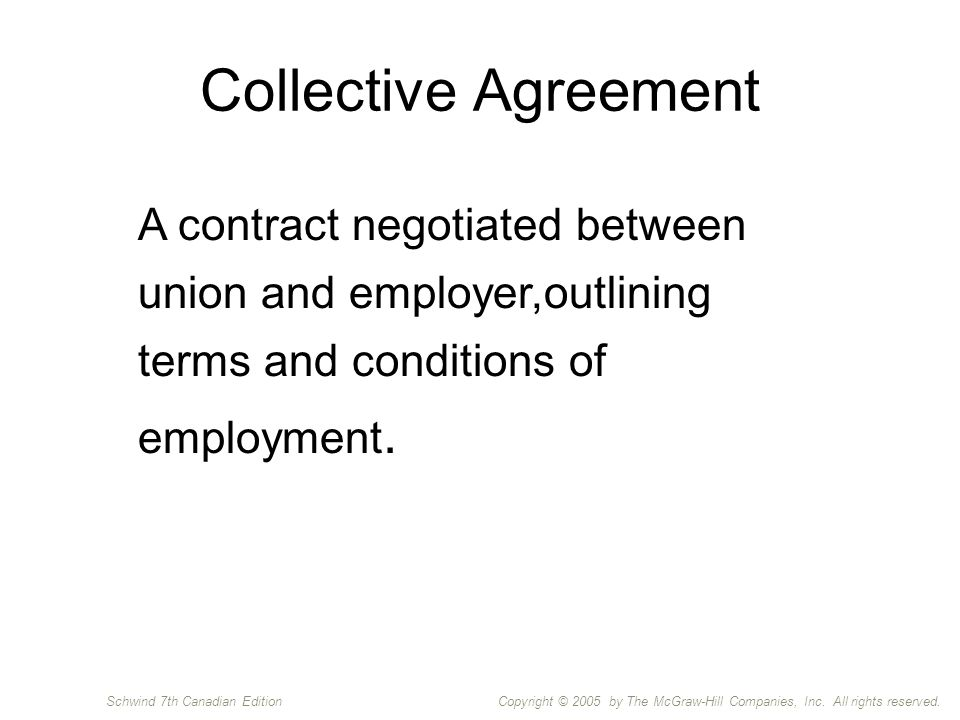 Copyright © 2005 by The McGraw-Hill Companies, Inc. All rights reserved.Schwind 7th Canadian Edition Collective Agreement A contract negotiated betwee
