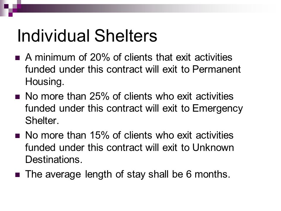 Individual Shelters A minimum of 20% of clients that exit activities funded under this contract will exit to Permanent Housing. No more than 25% of cl