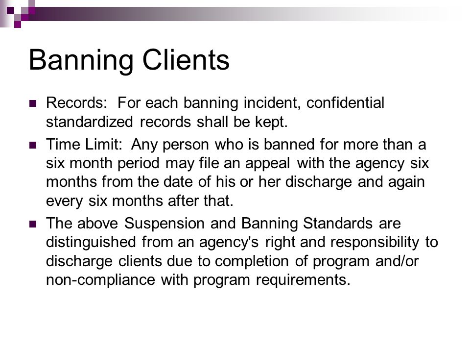 Banning Clients Records: For each banning incident, confidential standardized records shall be kept. Time Limit: Any person who is banned for more tha