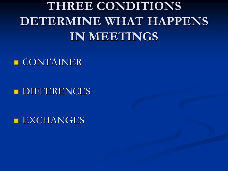 THREE CONDITIONS DETERMINE WHAT HAPPENS IN MEETINGS CONTAINER CONTAINER DIFFERENCES DIFFERENCES EXCHANGES EXCHANGES