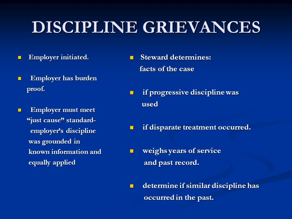 DISCIPLINE GRIEVANCES Employer initiated. Employer initiated.