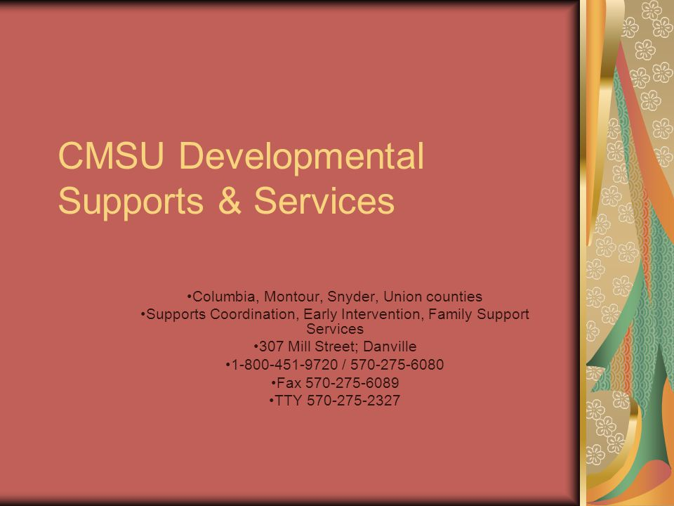 CMSU Developmental Supports & Services Columbia, Montour, Snyder, Union counties Supports Coordination, Early Intervention, Family Support Services 307 Mill Street; Danville 1-800-451-9720 / 570-275-6080 Fax 570-275-6089 TTY 570-275-2327