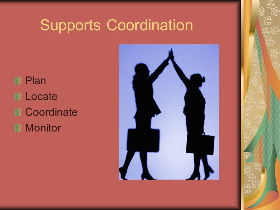 Supports Coordination Plan Locate Coordinate Monitor
