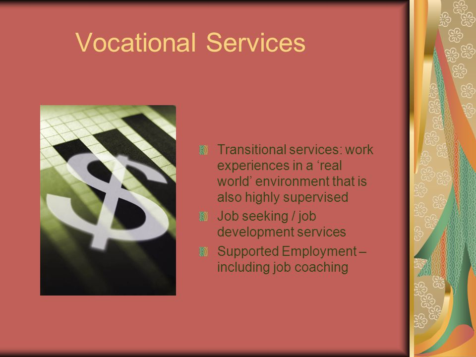 Vocational Services Transitional services: work experiences in a 'real world' environment that is also highly supervised Job seeking / job development services Supported Employment – including job coaching