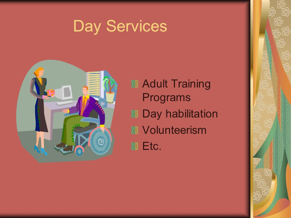 Day Services Adult Training Programs Day habilitation Volunteerism Etc.