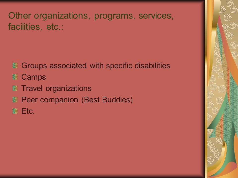 Other organizations, programs, services, facilities, etc.: Groups associated with specific disabilities Camps Travel organizations Peer companion (Best Buddies) Etc.