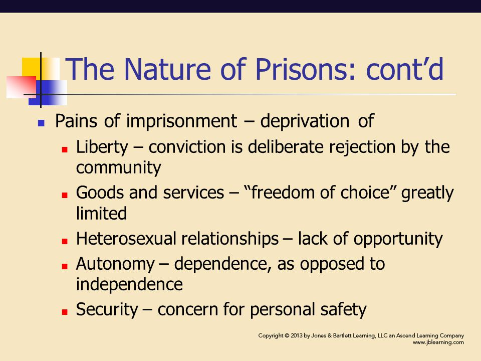 The Nature of Prisons: cont'd Pains of imprisonment – deprivation of Liberty – conviction is deliberate rejection by the community Goods and services – freedom of choice greatly limited Heterosexual relationships – lack of opportunity Autonomy – dependence, as opposed to independence Security – concern for personal safety