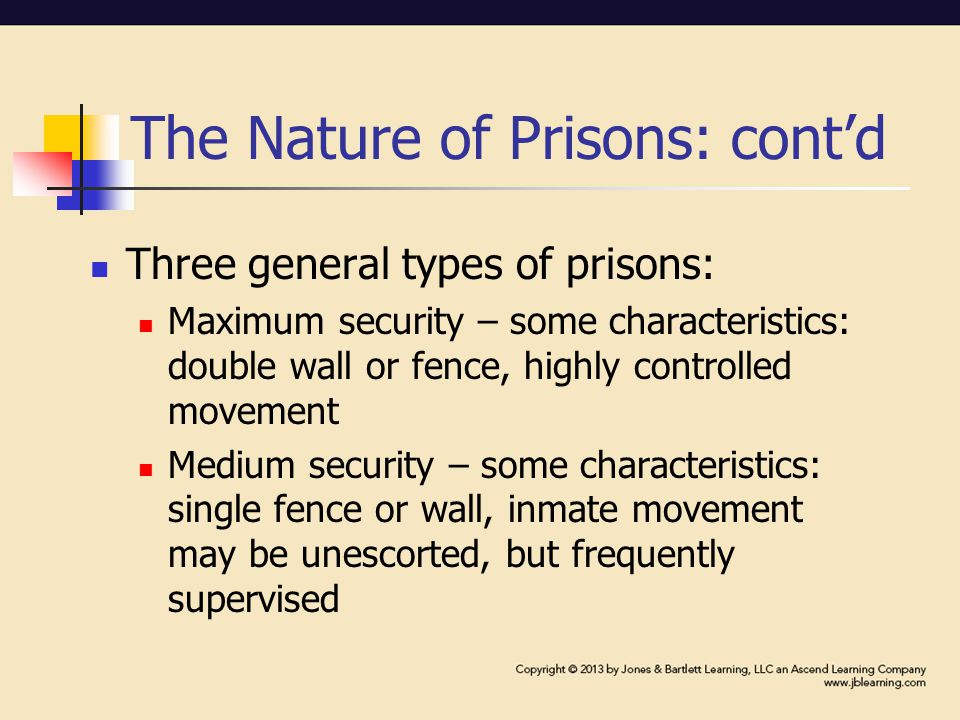 The Nature of Prisons: cont'd Minimum security – some characteristics: single or no fence, less restricted movement Administrative institutions – have specific purpose, such as medical centers and detention facilities