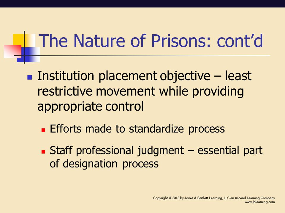 The Nature of Prisons: cont'd Institution placement objective – least restrictive movement while providing appropriate control Efforts made to standardize process Staff professional judgment – essential part of designation process