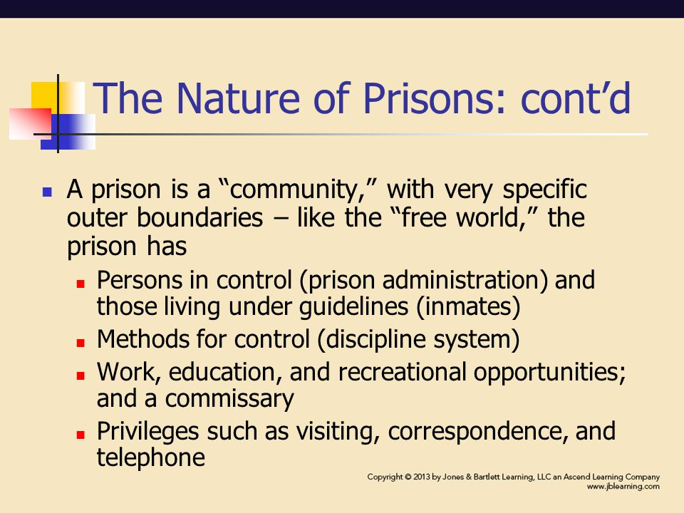 The Nature of Prisons: cont'd A prison is a community, with very specific outer boundaries – like the free world, the prison has Persons in control (prison administration) and those living under guidelines (inmates) Methods for control (discipline system) Work, education, and recreational opportunities; and a commissary Privileges such as visiting, correspondence, and telephone