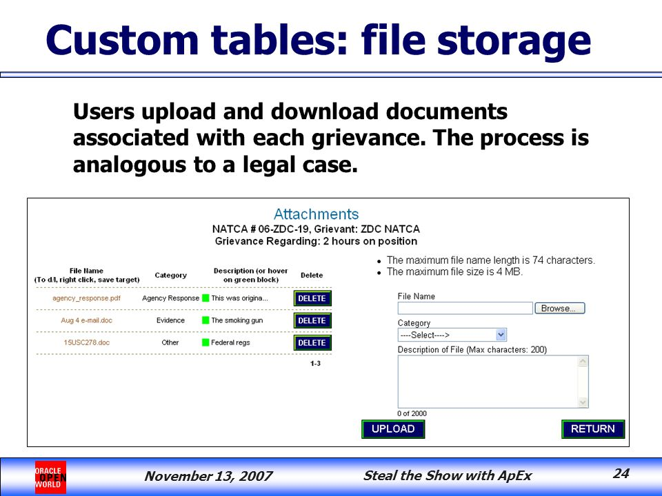 November 13, 2007 Steal the Show with ApEx 24 Users upload and download documents associated with each grievance.
