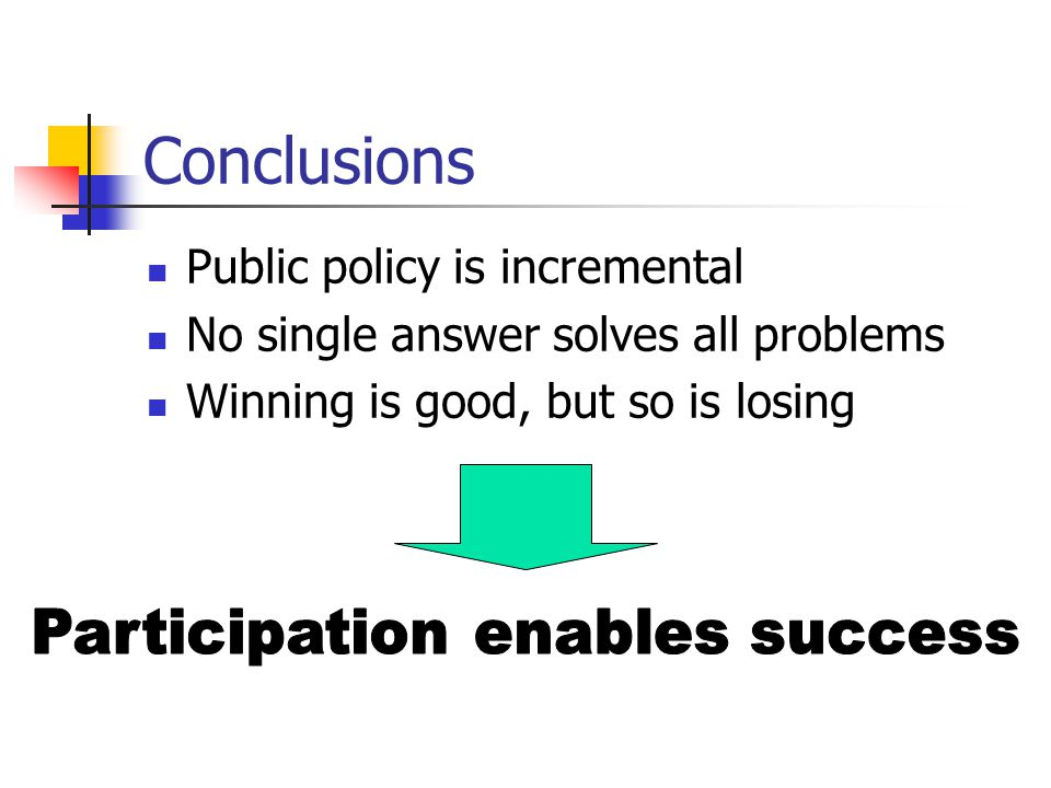 Conclusions Public policy is incremental No single answer solves all problems Winning is good, but so is losing