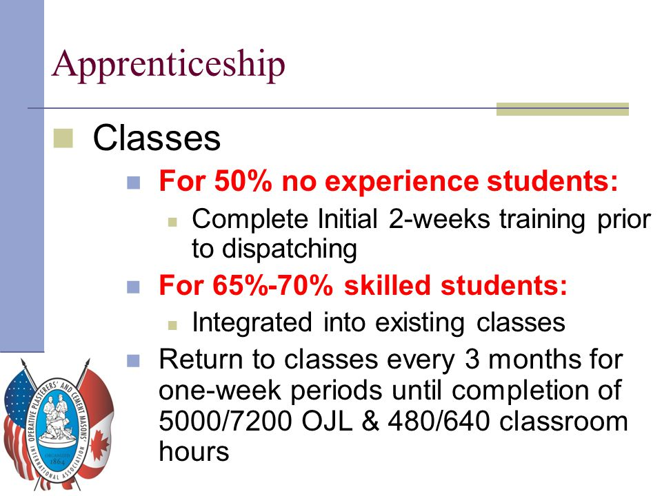 Apprenticeship Classes For 50% no experience students: Complete Initial 2-weeks training prior to dispatching For 65%-70% skilled students: Integrated